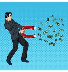 Confident Businessman Attracts Money with a Magnet vector image