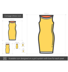 Corsage dress line icon vector