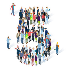 Crowded isometric people numbers vector