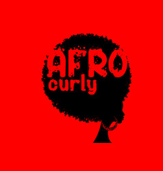 Curly afro hair portrait african women vector