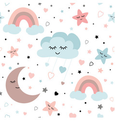cute sky seamless pattern ba design with vector image