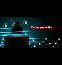 Cybersecurity concept of hacker using computer vector
