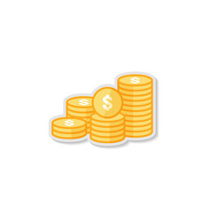dollar pile coins icon gold golden money stack vector image