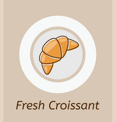 drawing of croissant and plate icon vector image