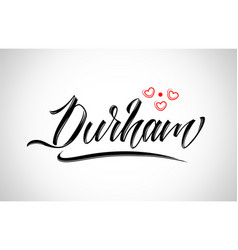 Durham city design typography with red heart icon vector