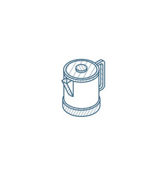 electric kettle isometric icon 3d line art vector image