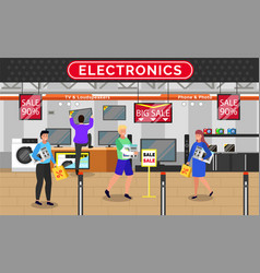 Electronics shop people at store buying gadgets vector