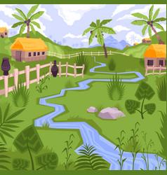 Exotic village scenery composition vector
