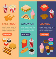 Fast food banner vecrtical set isometric view vector