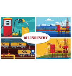 flat oil industry concept vector image