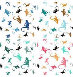 four pastel seamless patterns with lizards vector image