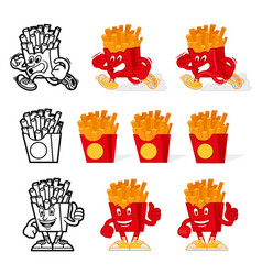 French fries cartoon set vector