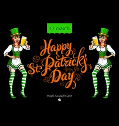 Funny irish girl holding a beer Happy St Patricks vector