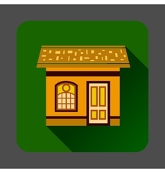 Gingerbread house icon flat style vector
