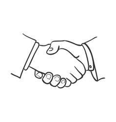 hand draw doodle handshake vector image
