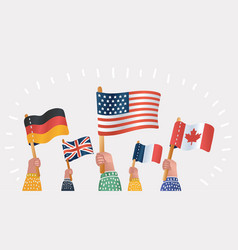 hands holding national flags different countries vector image
