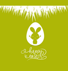 happy easter cards with easter bunny inside egg vector image