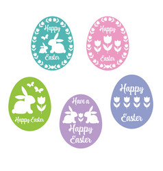 happy easter egg silhouettes with tulips vector image