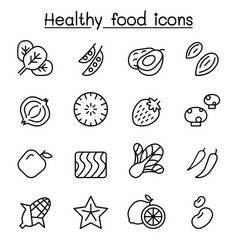 Healthy food icon set in thin line style vector