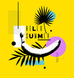 hello summer bright poster vector image