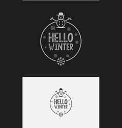 hello winter with hand lettering design background vector image