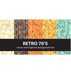 herringbone pattern set retro 70s seamless vector image