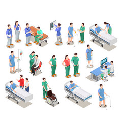 Hospital staff patients isometric people vector