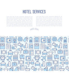 hotel services concept with thin line icons vector image