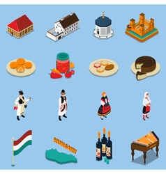 Hungary Isometric Touristic Icons Set vector