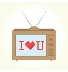 I love you retro television vector
