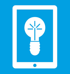 Idea lamp on gadget screen icon white vector