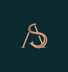 Initial logo a and s modern simple gold luxury vector