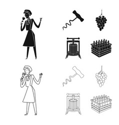 isolated object farm and vineyard symbol set vector image