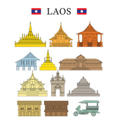 Laos landmarks and culture object set vector