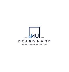 Letter mu square logo finance design vector