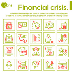 Linear icon financial crisis economy vector