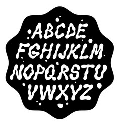 Liquid font with splashes alphabet vector