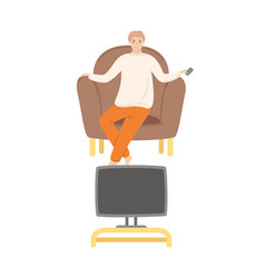Man home alone watching film sitting on pouf vector