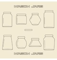 Mason jars linear icon set vector image