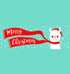 merry christmas banner alpaca llama baby face vector image