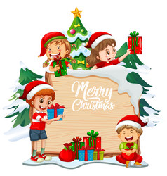 merry christmas font on wooden board vector image