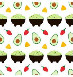 Mexican avocado guacamole dip pattern vector