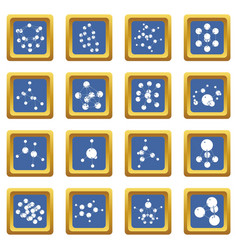 molecule icons set blue square vector image