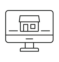 monitor house security icon outline style vector image