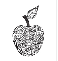 Monochrome apple zentangle style for coloring book vector