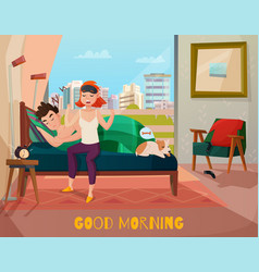 Morning waking couple vector