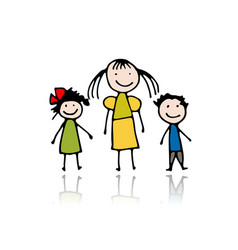 mother with children sketch for your design vector image