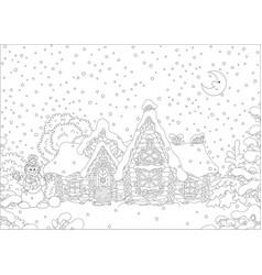 ornate log house under snow vector image