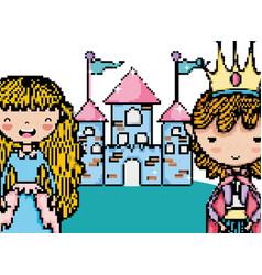 Pixelated videogame fantasy scenery vector