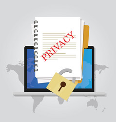 Privacy online document locked data security vector